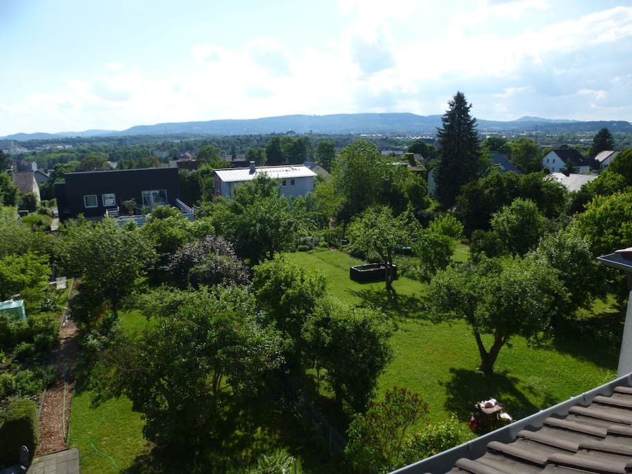 Panorama view, in front the garden