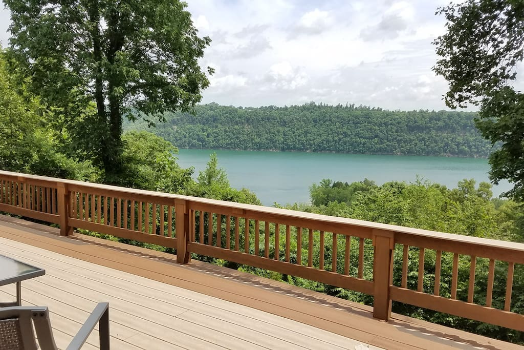 Summer view off our top deck. Trex decking keeps feet cool on even the hot days.
