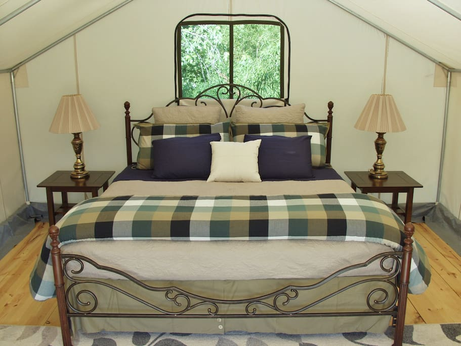 The king bed in the Safari Tent