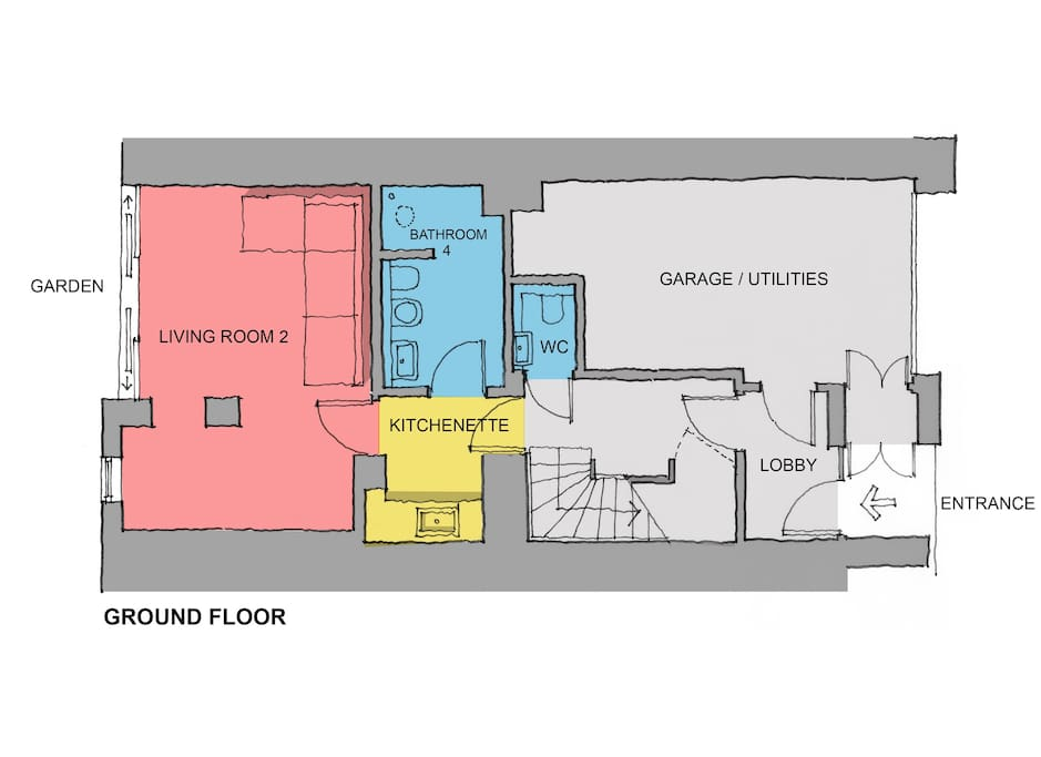 Ground Floor plan (entrance, garage for storage, coat cupboard under stairs, separate apartment with access to garden) - there is a single bed as well as a sofa bed in this room