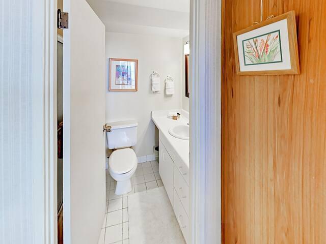 En-suite master bathroom with tub/shower combination
