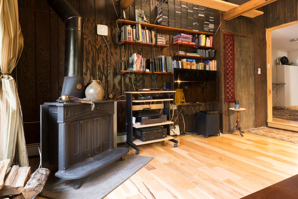 Lining room fireplace audio and library