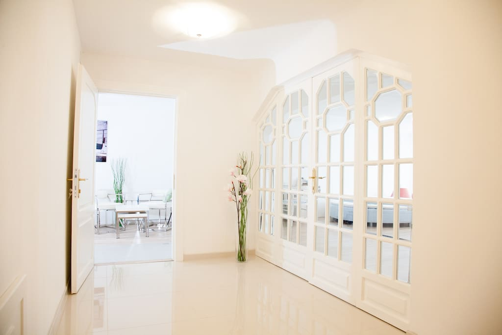 There are Art deco elements mixed with modern design throughout the whole flat.
