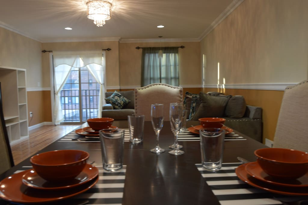 View from dining room to living space
