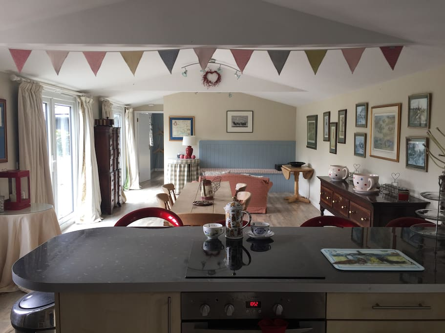 A view from the kitchen end
