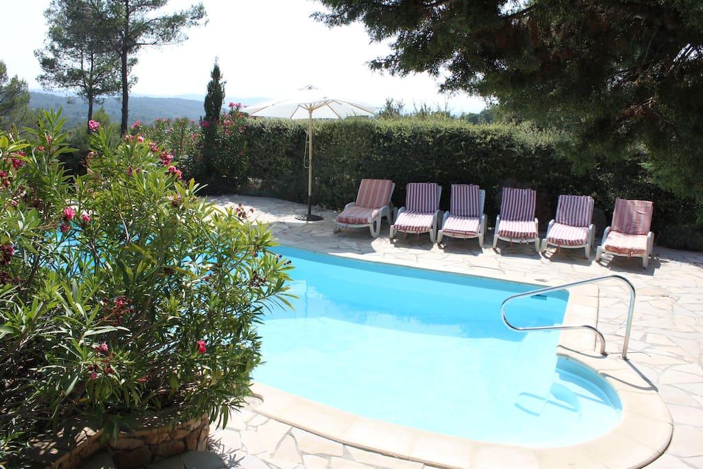 Piscine et terrasse : bancs de soleil