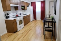 The kitchen is fully equipped with dishes, glasses, silverware, cooking utensils, pots and pans. You are welcome to use the kitchen as you wish!