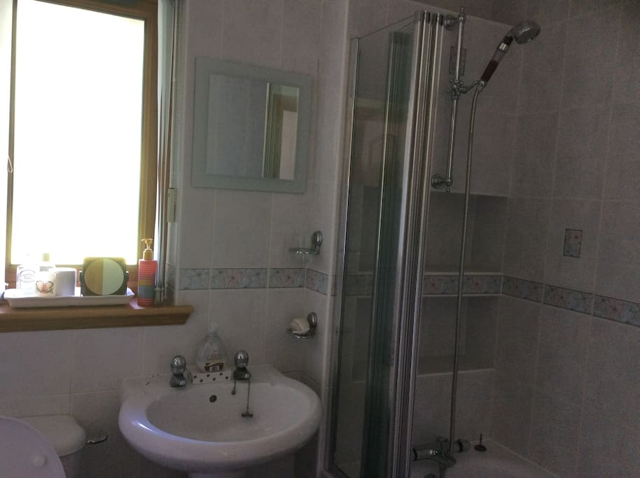 Ensuite bathroom with sink, w.c. and bathtub with overhead mineral shower for the double bedroom on the ground floor.
