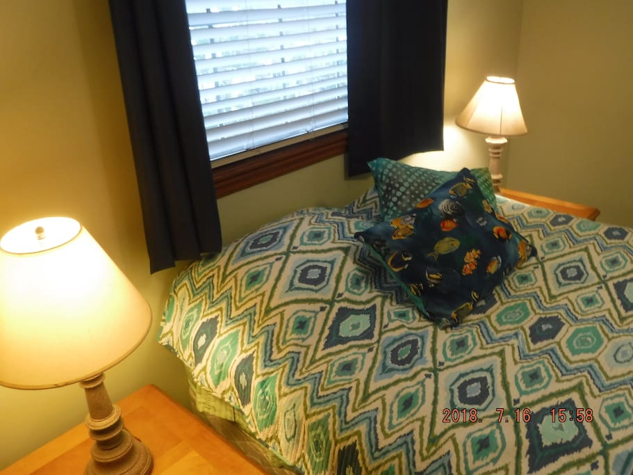 Bright room with room darkening curtains so you can get great sleep!