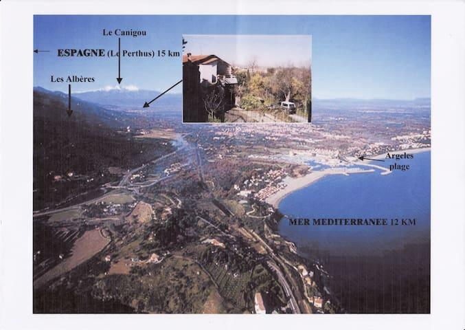 Logement 1 ou 2 chambres avec terrasse jolie vue - Villelongue-dels-Monts - Apartment