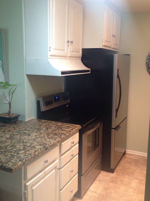 Large fridge and freezer. Dishwasher, oven, coffee maker, blender, granite countertop.
