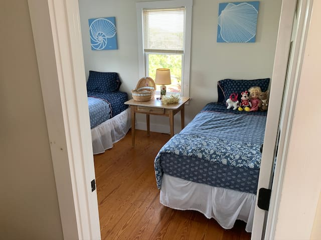 2 Twin beds in South bedroom with window air conditioner.