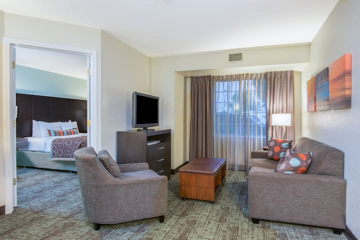 Queen Hearing + Mobility Accessible Suite | Free Breakfast + Indoor Pool