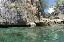 Snorkeling into the cave on Seram Island