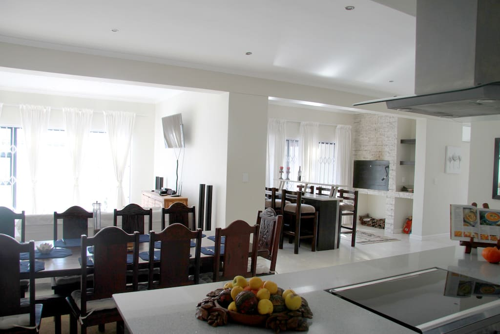 Large dinning table, comfy sofas, premium DSTV, unlimited wifi, bar and an inside braai are some of the reasons to fall in love with this stunning listing
