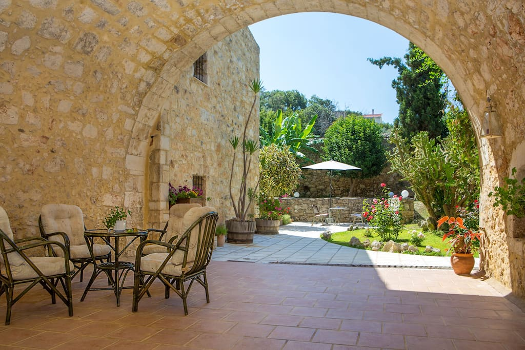 The patio surrounded by high Turkish walls can be a hideaway for sunbathing