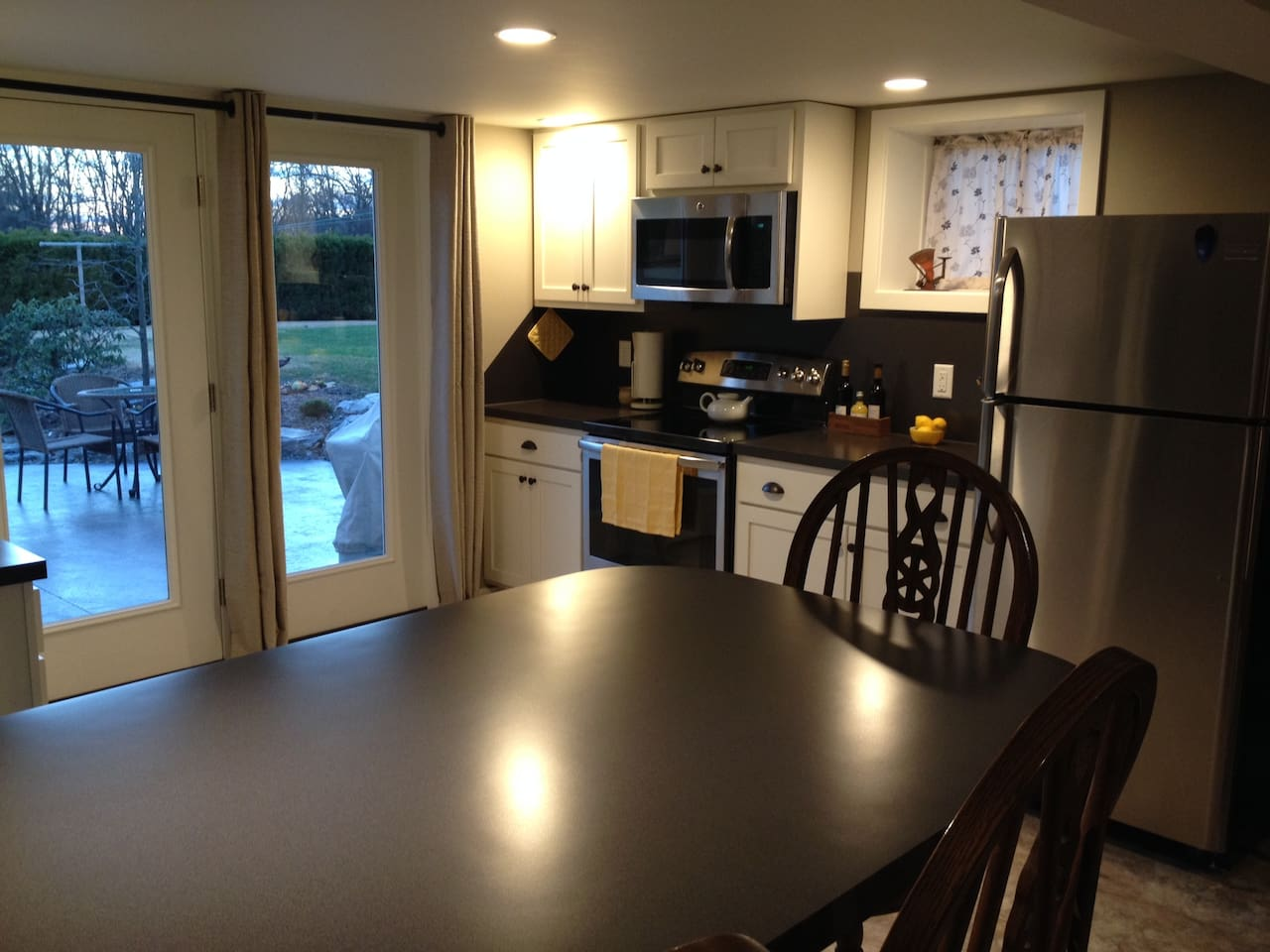 Brand new kitchen and appliances.  Enjoy the lovely backyard and patio.
