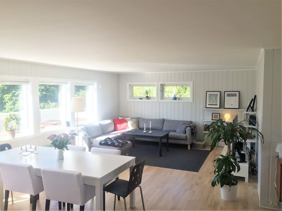 Stor og lys stue med romslig sittegruppe. Large and bright livingroom are with TV and large sofa.
