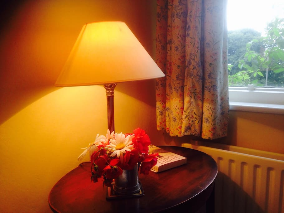 Bedside table and view to garden