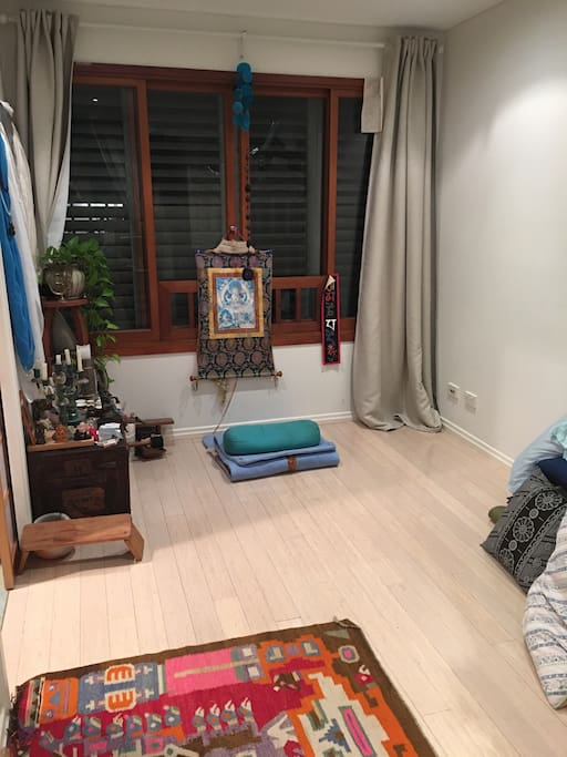 Yoga room overlooking the garden