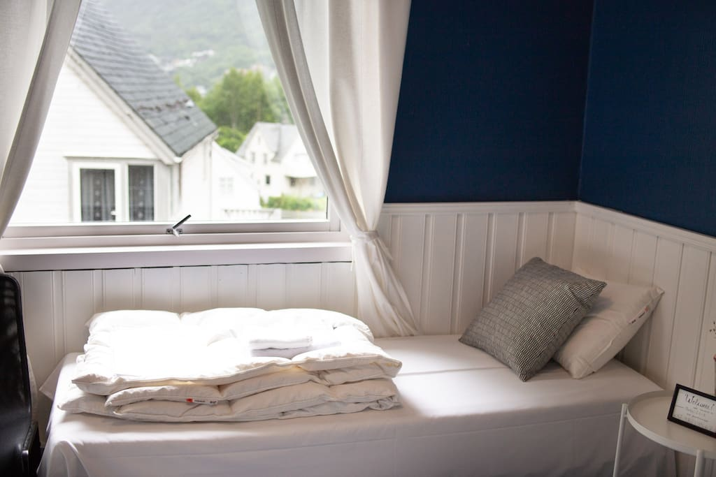 If you want to sleep in separate beds, that´s no problem! We have a spare bed that will be in the room if you request it.