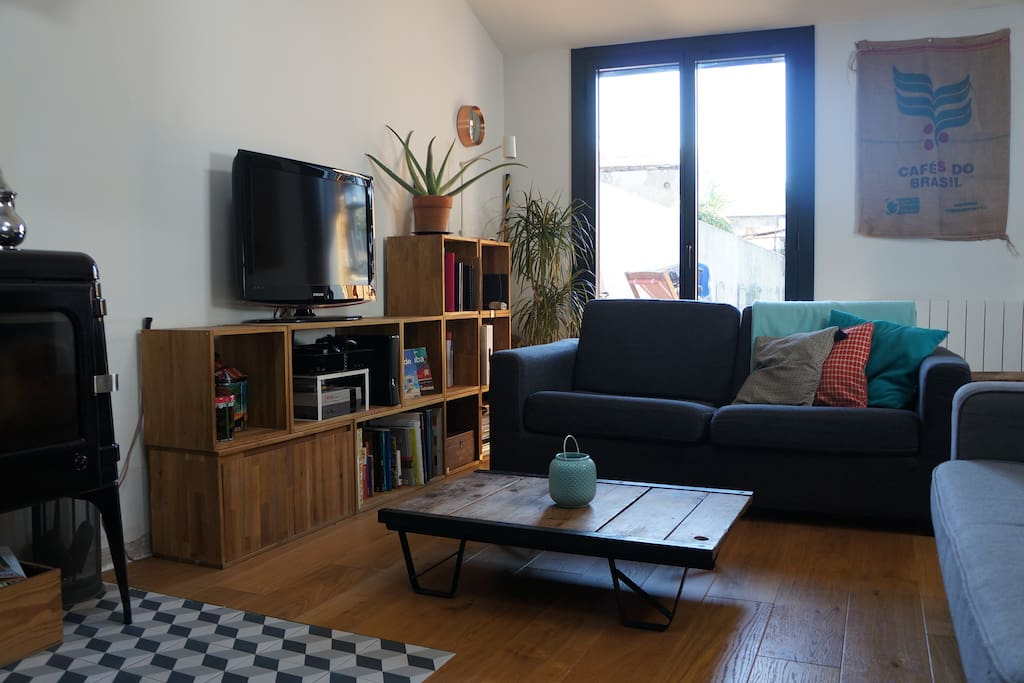 Sofa bed and flat screen TV