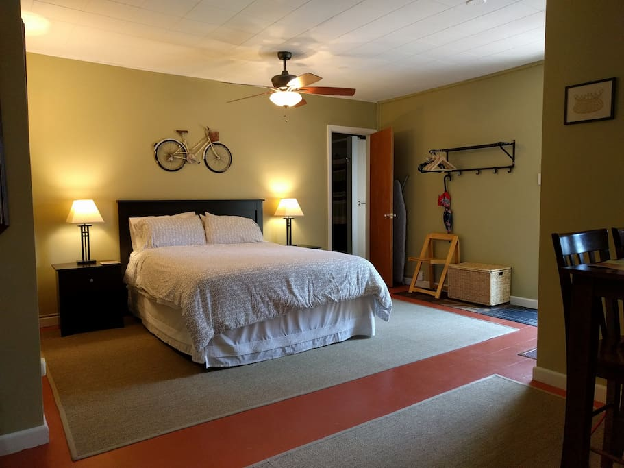 The studio apartment is roomy with lots of space to spread out and enjoy your stay.