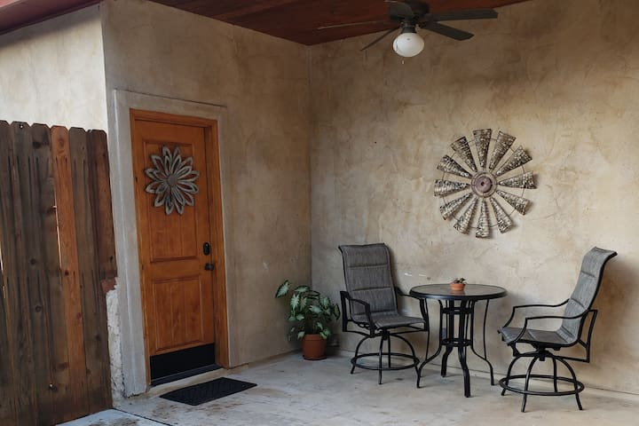 Patio and private entrance to your room.