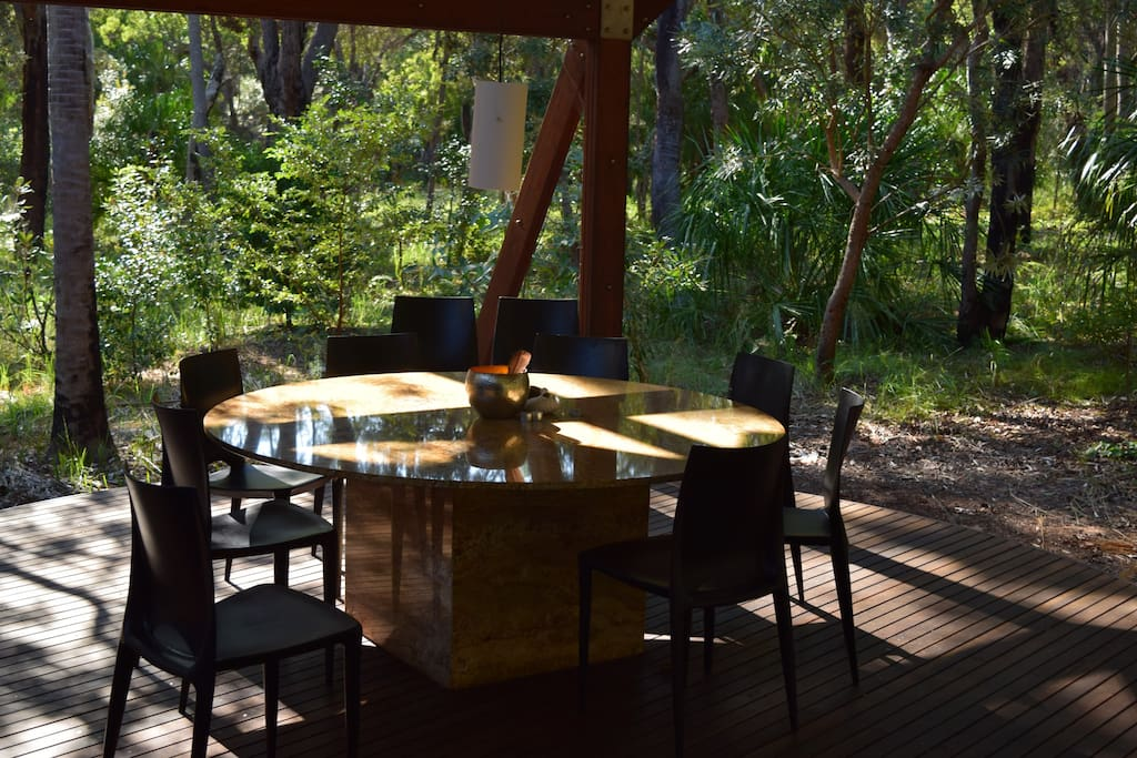 Outdoor dining on the huge covered deck