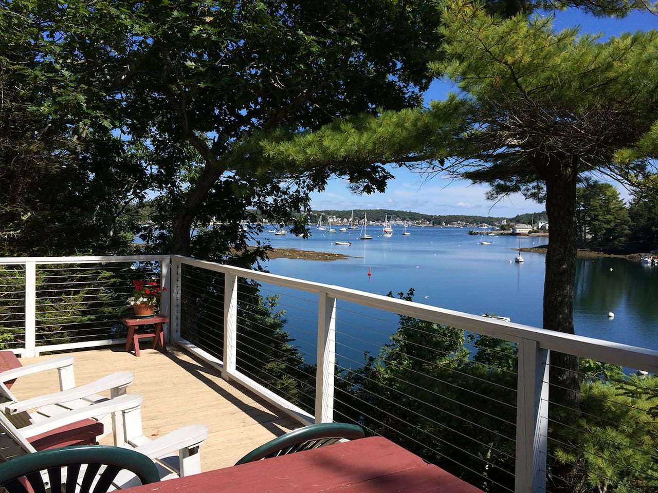 View of Boothbay Harbor, Maine, from the Pine Cottage at Harborfields