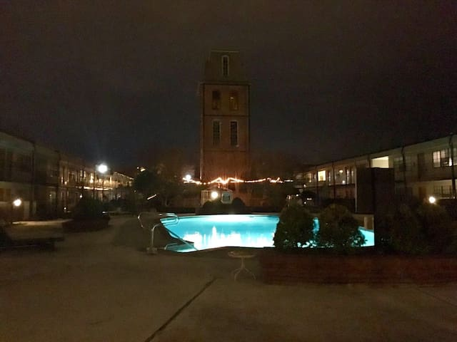 The pool is really beautiful at night