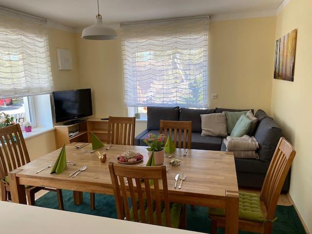 Wohnküche mit Couch (Bett 5 und 6) und TV