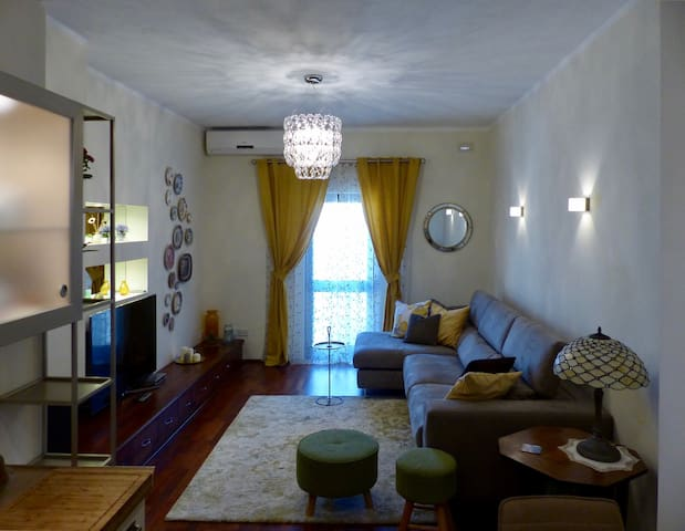 Large living room including a comfortable sofa bed and a large television.