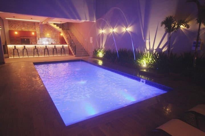 Recanto do Campo. Piscina aquecida, sauna, quadra+