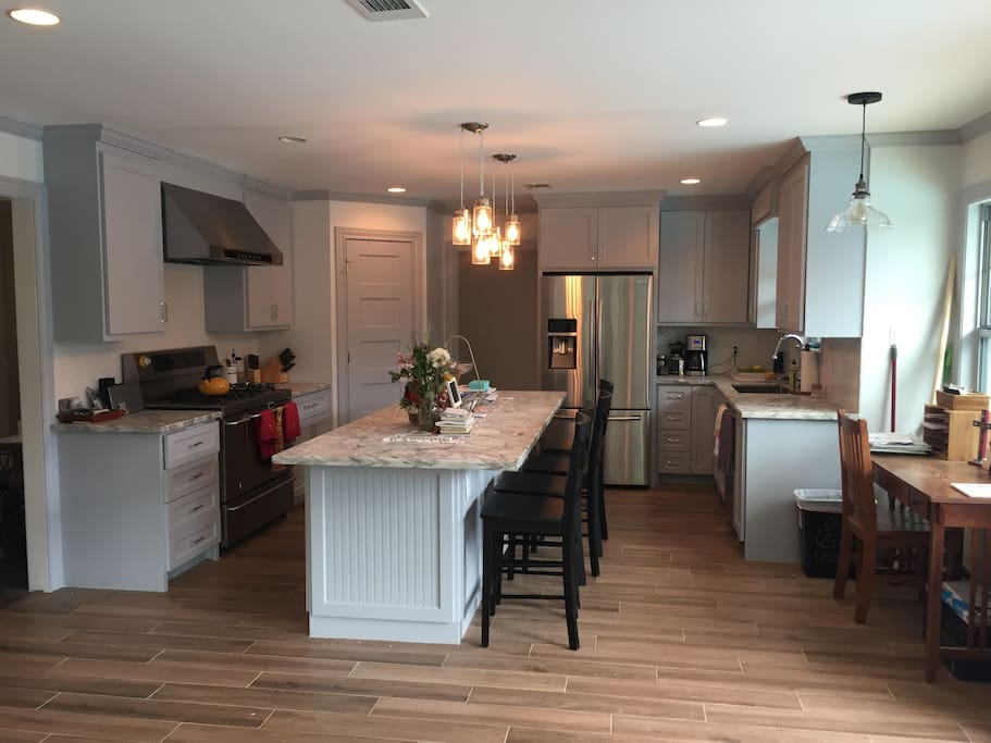 Renovated kitchen with island seating for 4