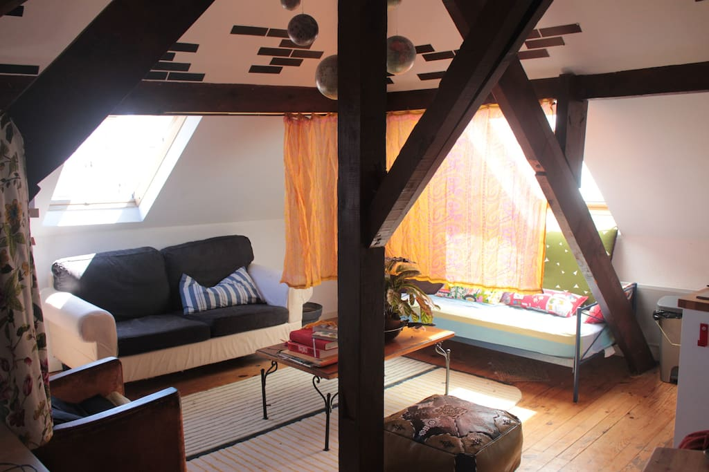 the living room, can be a sleeping place wenn need