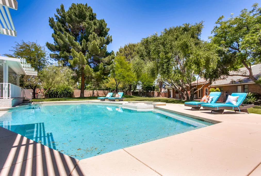 Immaculate backyard BBQ grill, shaded area, games, swimming pool, huge open space, and plenty of seating.