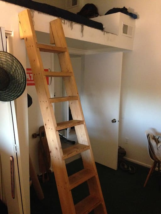 This is the ladder to the loft where the queen bed is located