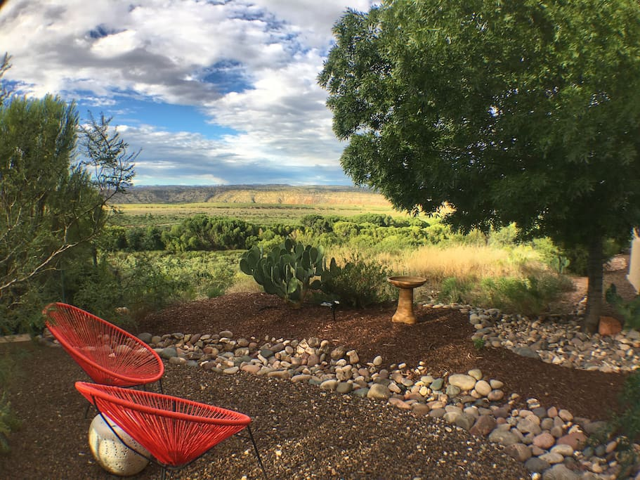 Spectacular view from casita courtyard of Verde River and surrounding parklands.