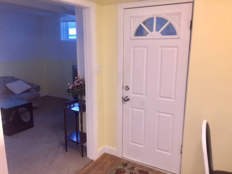 View of the living room and front door