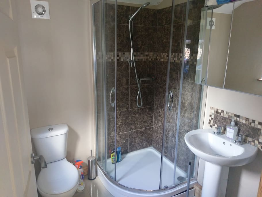 One of the two bathrooms with power shower.