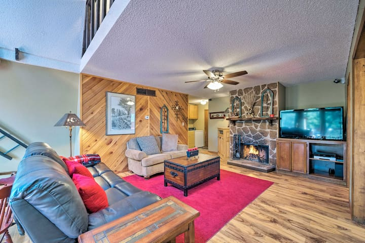 Your family of 8 can relax in front of this roaring fire!