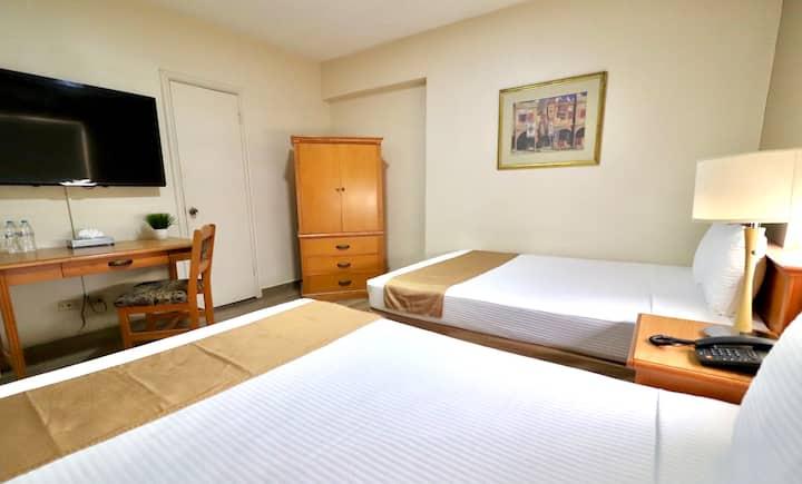 Descansa en habitación de Hotel en Zona Centro.