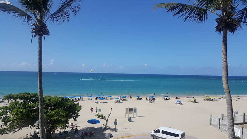 View from your windows!! Your front Beach View. Direct beach gate from your condo. This is the heart of Isla Verde. The Main Beach entrance! Best Location in between Hotels, Rests, markets, water sports..etc.
