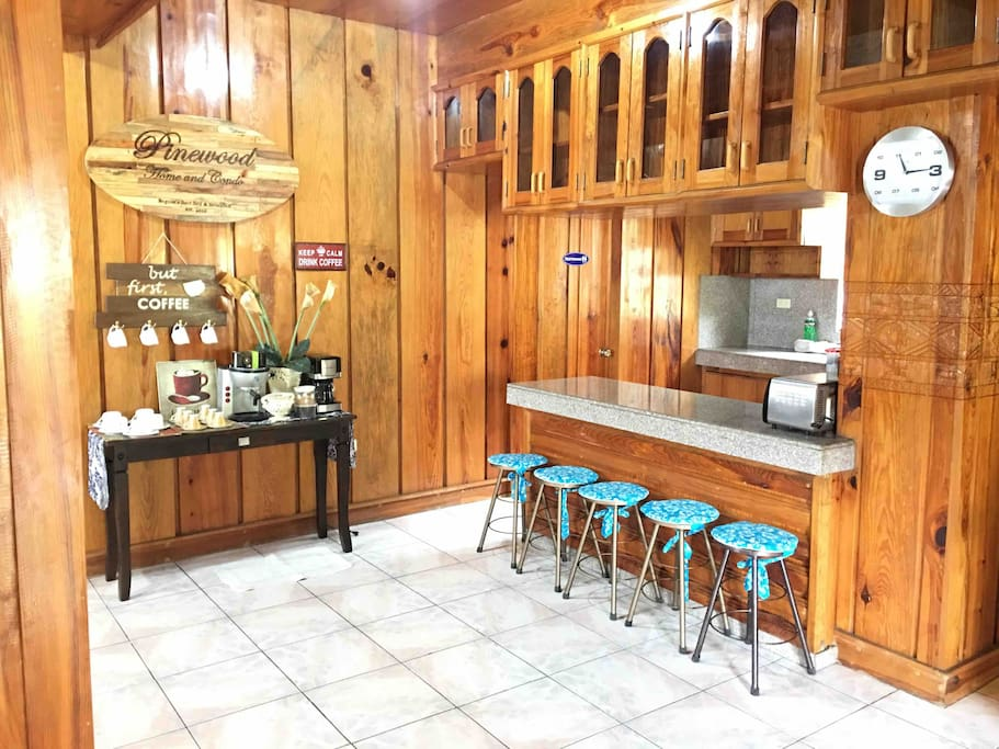 Bad day? Coffee Good mood? Coffee Stressed? Coffee Happy? Coffee Inspired? Coffee Coffee? Coffee Before everything else..Coffee  Enjoy UNLIMITED Sagada or Benguet coffee when you atay with us. This is the Pinewood Home experience.