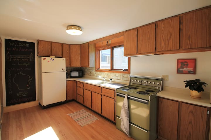 Oven, Sink, Microwave, Coffee Maker, and Refrigerator