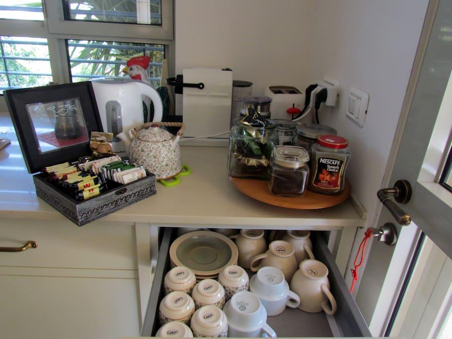 "the ""coffee & tea corner"" in the kitchen"