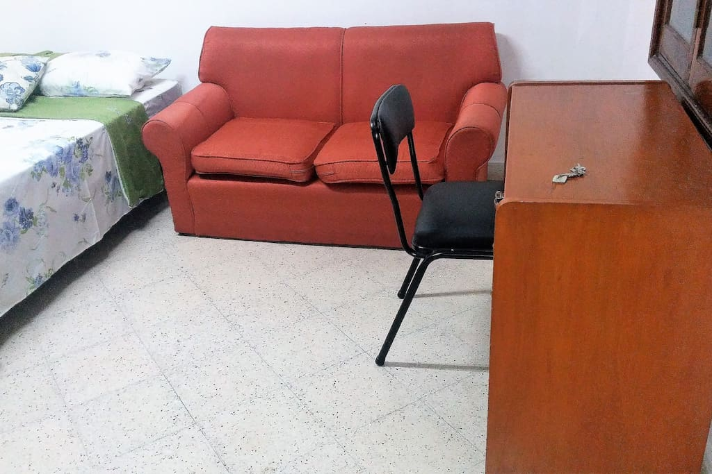 desk, chair and couch