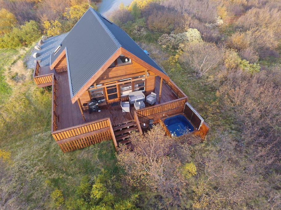 Brekkugisting Villa, picture taken with a drone