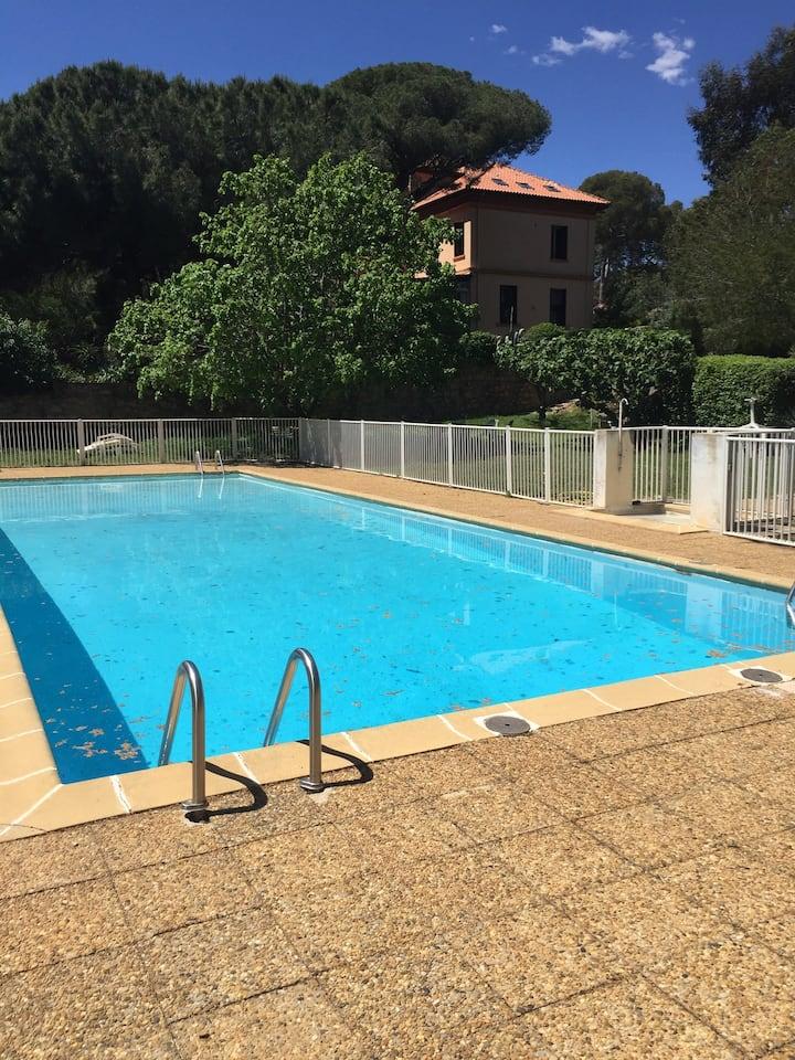 Studio-mezzanine disposant d'une grande piscine